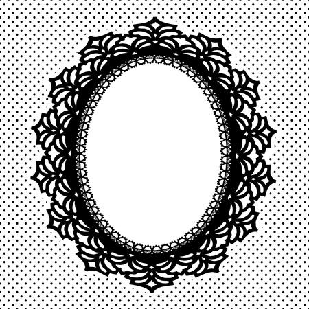 festonati: Vintage Lace Cornice ovale centrino con polka dot sfondo, copia spazio, in bianco e nero
