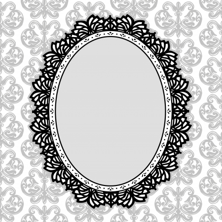 scalloped: Vintage Lace Picture Frame oval doily with fleur de lis background; copy space; black and white