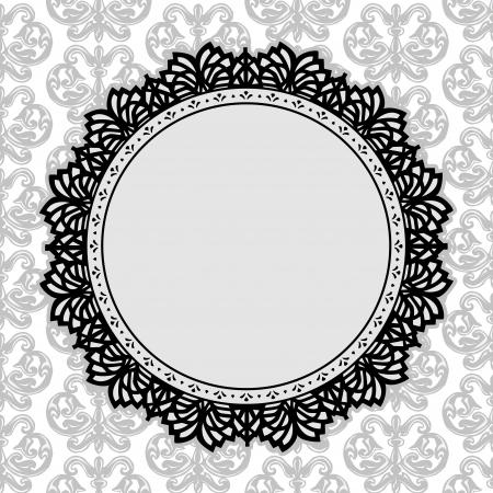festonati: Vintage Lace Cornice rotonda centrino con fleur de lis sfondo, copia spazio, in bianco e nero