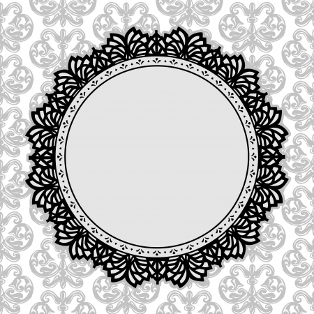 scalloped: Vintage Lace Picture Frame round doily with fleur de lis background; copy space; black and white