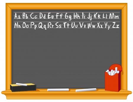 Blackboard, ABC alphabet handwriting, retro slate, oak wood frame with shelf, eraser, chalk box, copy space   Vector