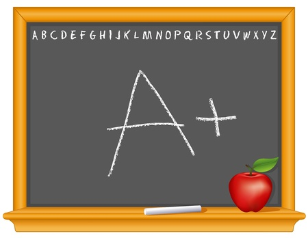 Blackboard, A plus, retro slate, oak wood frame with shelf, ABC alphabet, chalk, apple for the teacher, copy space   Vector