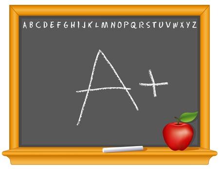 Blackboard, A plus, retro slate, oak wood frame with shelf, ABC alphabet, chalk, apple for the teacher, copy space