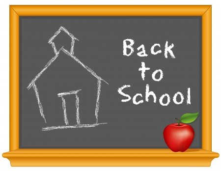 Blackboard, Back to School handwriting, schoolhouse chalk drawing, retro slate, oak wood frame with shelf, apple for the teacher  Vector