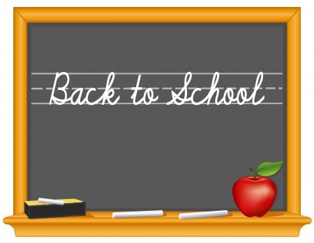 Blackboard, Back to School handwriting, retro slate, oak wood frame with shelf, eraser, chalk, apple for the teacher, copy space    Illustration