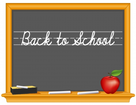 school class: Blackboard, Back to School handwriting, retro slate, oak wood frame with shelf, eraser, chalk, apple for the teacher, copy space    Illustration
