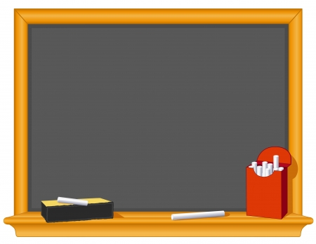 eraser: Blank Blackboard, retro slate, oak wood frame with shelf, eraser, chalk box, copy space