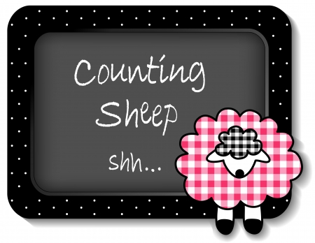Baby lamb nap time bulletin board, Counting Sheep, pastel pink gingham, white polka dots on black frame for scrapbooks, albums, baby books  Stock Vector - 18651628