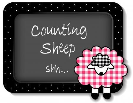 ovejita bebe: Cordero del beb� hora de la siesta tabl�n de anuncios, contar ovejas, pastel rosa gingham, lunares blancos sobre un marco negro para �lbumes de recortes, �lbumes, libros para beb�s