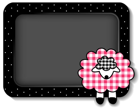 Baby lamb bulletin board with copy space, pastel pink gingham, white polka dots on black frame for scrapbooks, albums, baby books   Çizim