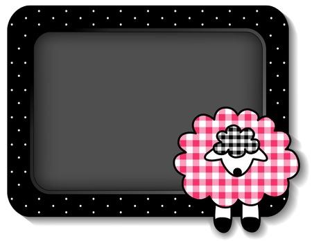 bebe a bordo: Beb� tabl�n de anuncios de cordero con copia espacio, rosa pastel guinga, lunares blancos sobre un marco negro para los libros de recuerdos, �lbumes, libros para beb�s