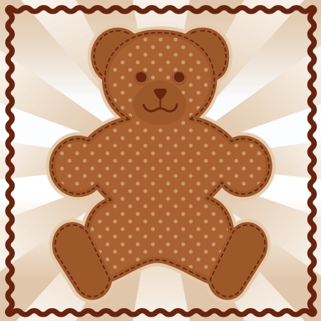Baby Teddy Bear in polka dots, pastel background, rick rack border frame  Vector