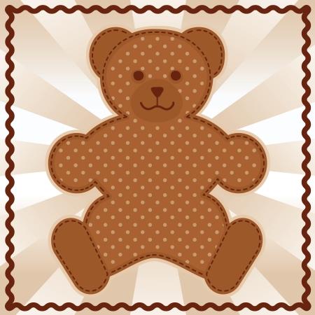 baby bear: Baby Teddy Bear in polka dots, pastel background, rick rack border frame  Illustration