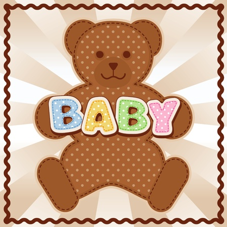 Baby Teddy Bear, polka dot block letters, pastel  background, rick rack border frame   Vector