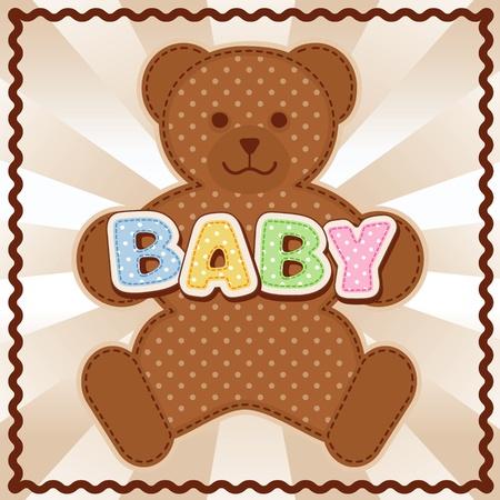 rick: Baby Teddy Bear, polka dot block letters, pastel  background, rick rack border frame
