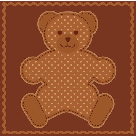 Baby Teddy Bear in polka dots, chocolate background, rick rack border frame  Vector