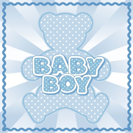 block letters: Baby Boy Teddy Bear, polka dot block letters, pastel blue background, rick rack border frame