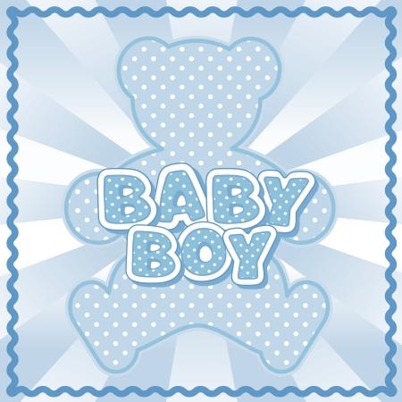 stitchery: Baby Boy Teddy Bear, polka dot block letters, pastel blue background, rick rack border frame