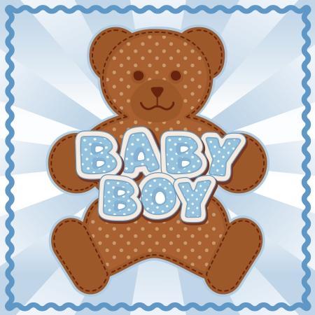 Baby Boy Teddy Bear, polka dot block letters, pastel blue background, rick rack border frame   Ilustracja