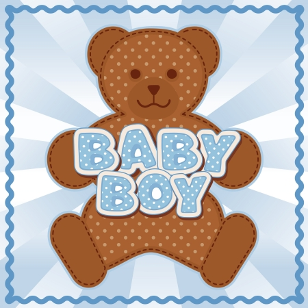 Baby Boy Teddy Bear, polka dot block letters, pastel blue background, rick rack border frame   Vector