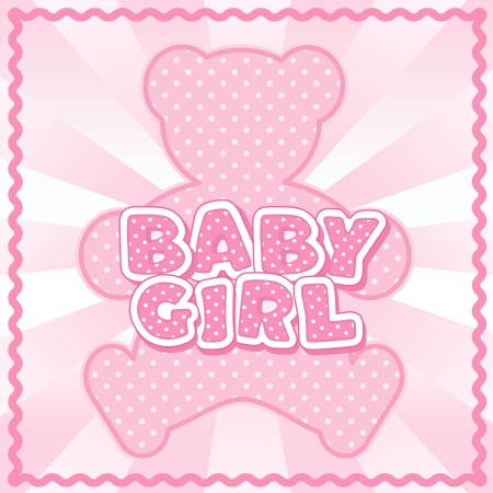 stitchery: Baby Girl Teddy Bear, polka dot block letters, pastel pink background, rick rack border frame   Illustration