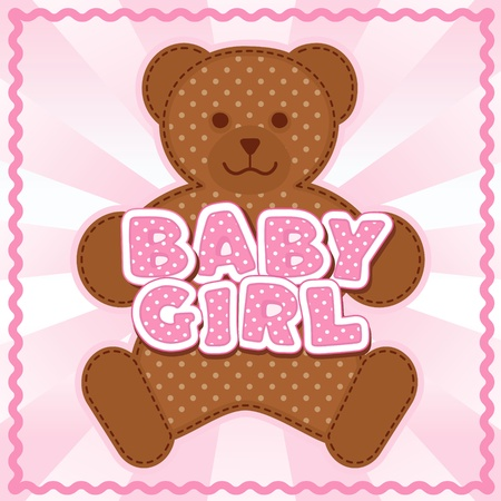 Baby Girl Teddy Bear, polka dot block letters, pastel pink background, rick rack border frame