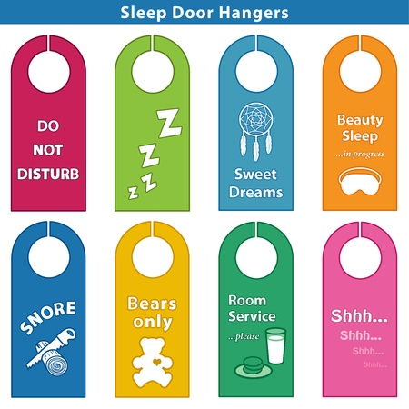 Sleep Door Hangers  Do Not Disturb, ZZZs, Sweet Dreams, Beauty Sleep, Teddy Bears Only, Snore  Sawing logs, Room Service, SHHH    Brights  Stock Vector - 20072545