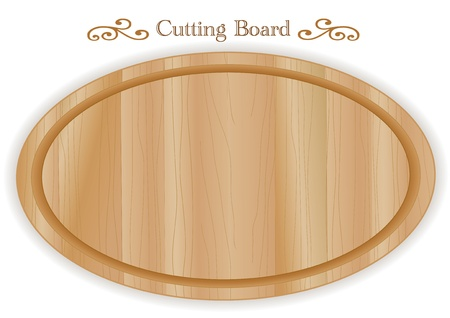 elipse: Cutting or carving board, oval shape, wood grain detail; For kitchen, barbecue and bar; Isolated on white  Illustration