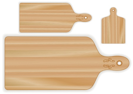 board: Cutting or carving boards, paddle shape, 3 sizes, wood grain detail; For kitchen, barbecue and bar; Isolated on white  Illustration