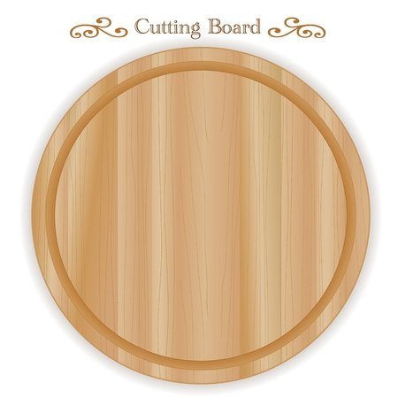 Cutting or carving board, wood grain detail, round shape; For kitchen, barbecue and bar; Isolated on white  Vector