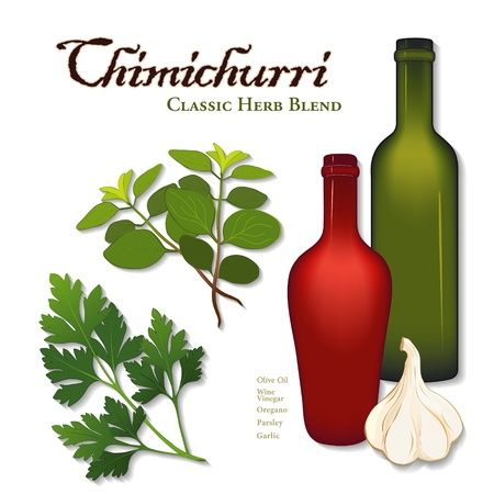 Chimichurri, popular herb seasoning sauce from Argentina for grilled meat; flat leaf parsley, garlic, oregano, bottles of olive oil and wine vinegar; isolated on white background