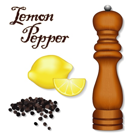 Lemon Pepper, classic spice blend for poultry, pasta, seafood; dark wood pepper mill, spice grinder, whole black peppercorns, fresh lemons isolated on white background
