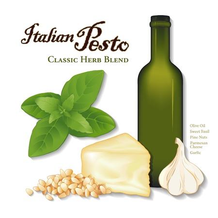 Pesto, klassieke Italiaanse kruidensaus voor pasta, groenten, knoflook, zoete basilicum, pijnboompitten, Parmezaanse kaas, een fles olijfolie, op een witte achtergrond Stock Illustratie