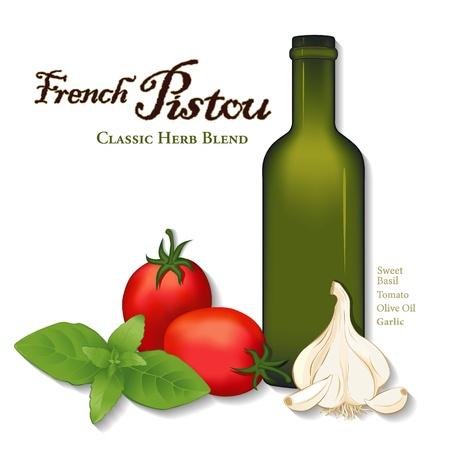 botella de aceite de oliva: Pistou, franc�s salsa de hierbas provenzal para la sopa, pasta, verduras albahaca, ajo, San Marzano tomates ciruela, botella de aceite de oliva Vectores