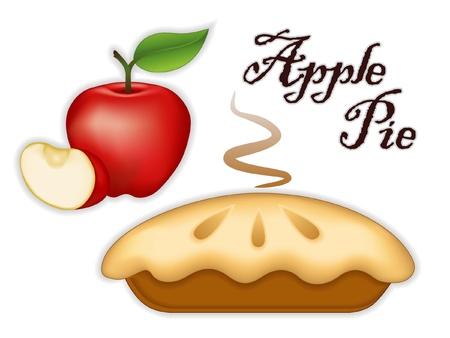 アップルパイ、熟したフルーツ、スライス。新鮮な焼きたての甘いデザートを扱う;白い背景で隔離