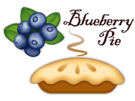 blueberry pie: Empanada de ar�ndano, las bayas de la fruta madura, fresco horneados placer postre dulce, aislado en el fondo blanco Vectores