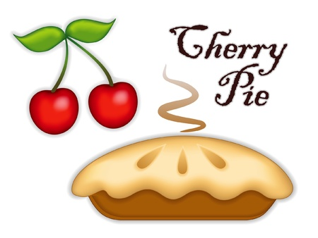 baked treat: Cherry Pie, ripe fruit; Fresh baked sweet dessert treat; Isolated on white background