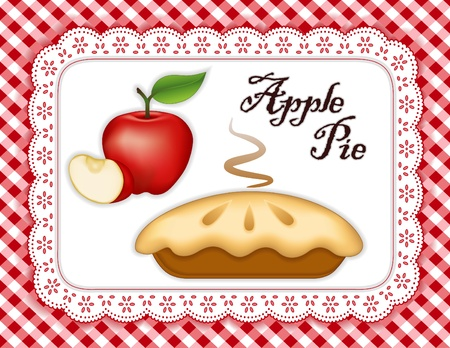 Apple Pie, ripe fruit, slice; Fresh baked sweet dessert treat; Isolated on white eyelet lace doily place mat; Red and white gingham check background