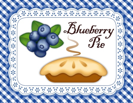 cobbler: Blueberry Pie, ripe berry fruit; Fresh baked sweet dessert treat; Isolated on white eyelet lace doily place mat; Blue and white gingham check background  Illustration