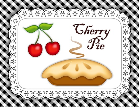 cobbler: Cherry Pie, ripe fruit; Fresh baked sweet dessert treat; Isolated on white eyelet lace doily place mat; Black and white gingham check background