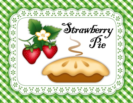 cobbler: Strawberry Pie, ripe berry fruit, flower; Fresh baked sweet dessert treat;  isolated on white eyelet lace doily place mat; Green and white gingham check background   Illustration