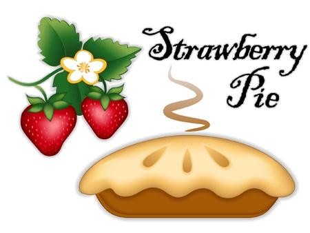 Strawberry Pie, ripe berry fruit, flower; Fresh baked sweet dessert treat; Isolated on white background