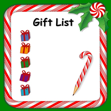 shopping list: Christmas holiday gift list on whiteboard with candy cane frame in red and green, pencil, holly, peppermint candy