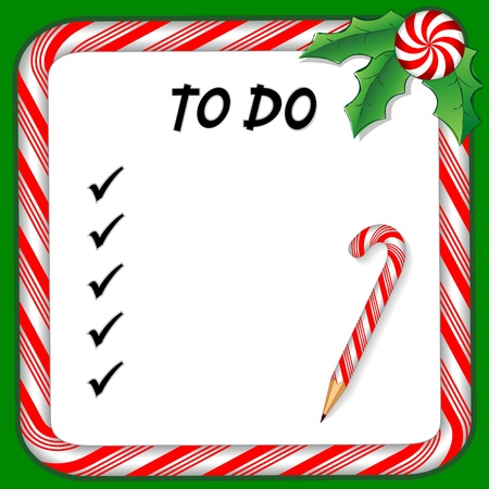candy border: Christmas holiday to do list on whiteboard with candy cane frame in red and green, pencil, holly, peppermint candy