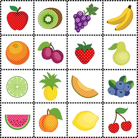 Fruits in polka dot design, framed in black and white gingham check grid, Apple, lemon, grape, banana, orange, plum, pear, kiwi, pineapple, strawberry, cantaloupe, blueberry, watermelon, peach, lime, cherry   Vector