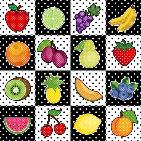 Fruits in black and white polka dot tile design, Apple, lemon, grape, banana, orange, plum, pear, kiwi, pineapple, strawberry, cantaloupe, blueberry, watermelon, peach, lime, cherry