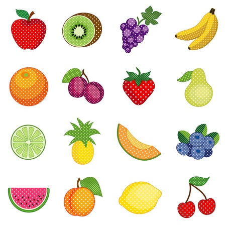 Fruits in polka dot design, Apple, lemon, grapes, banana, orange, plum, pear, kiwi, pineapple, strawberry, cantaloupe, blueberry, watermelon, peach, lime, cherry; isolated on white background   Vector