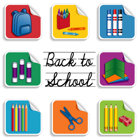 Back to School Stickers for scrapbooks, preschool, daycare, arts, crafts, literacy projects includes backpack, colored pencils, sharpener, folders, markers, crayons, scissors and cursive lettering on multicolored backgrounds   Vector