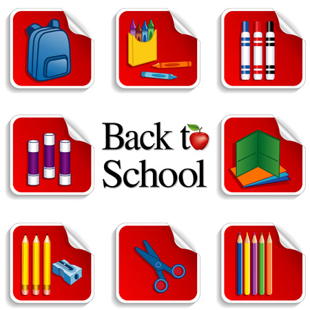 Back to School Stickers for scrapbooks, preschool, daycare, arts, crafts, literacy projects includes backpack, colored pencils, sharpener, folders, markers, crayons, scissors and an apple for the teacher on red background  Vector