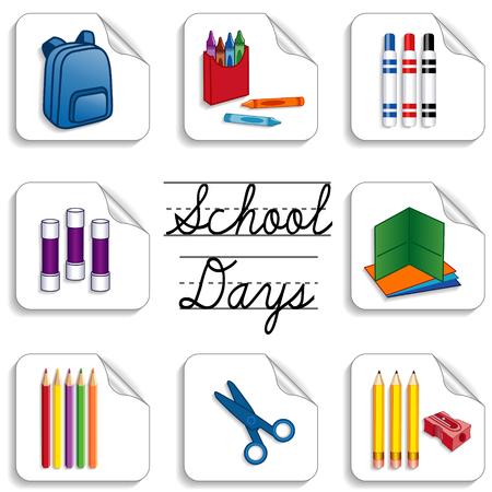 学校、スクラップ ブック、幼稚園、保育園、芸術、工芸品に戻っての学校日のステッカー、識字率向上プロジェクトには色の鉛筆削りフォルダー マ
